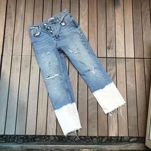 Zara | Blue Denim Button Up High Waisted Jeans